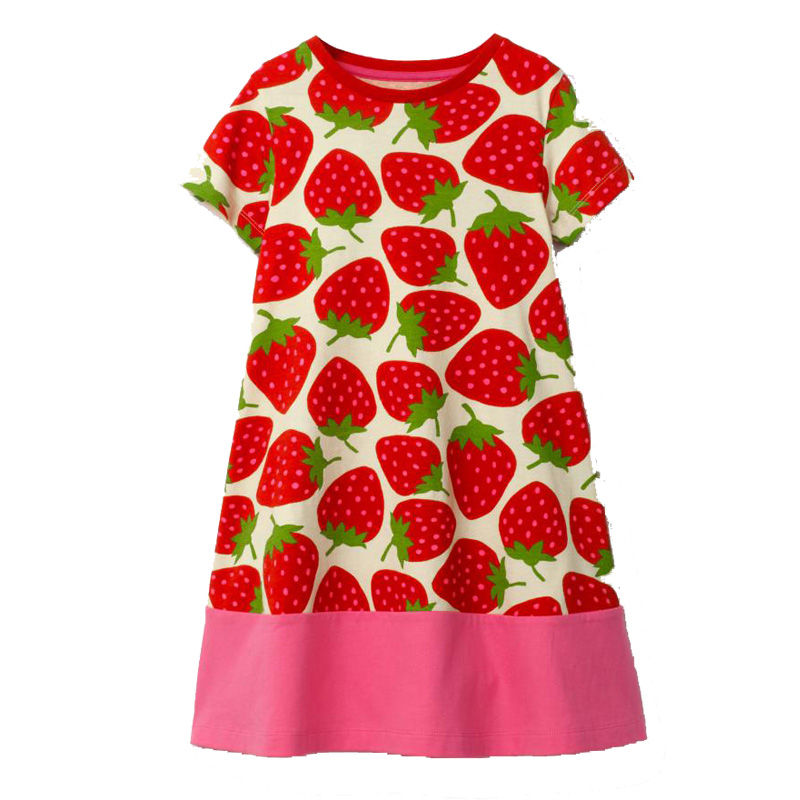 Vestidos Girl Dresses Cotton Children Strawberry Dress 2018 Kids Summer Clothes Kids Tunic Costumes Unicorn Dress for Girls little j summer girls dress kids sleeveless strawberry printed princess dress cotton vestidos children clothes bowknot dress
