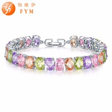 FYM 6 Colors Link & Chain Bracelets & Bangles Luxury Round AAA Cubic Zircon Silver color Bracelet For Women Crystal Jewelry fym 6 colors link