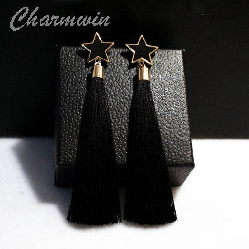 Charmwin בציר ארוך טאסל עגילי עבור נשים חדש אופנה מותג מוגזם עגילי טיפת אביזרי 3 צבעים PE1103