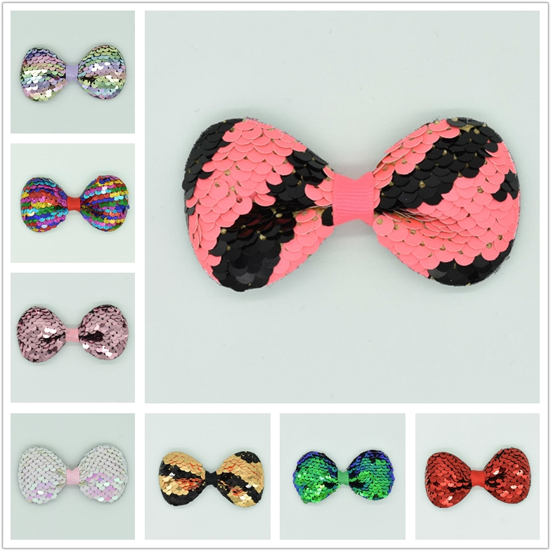 2018 New Girls Cute Bow Children's Sequins Multilayer Hair Accessories Newborn Multicolor Hair Clips Gradient   Headwear