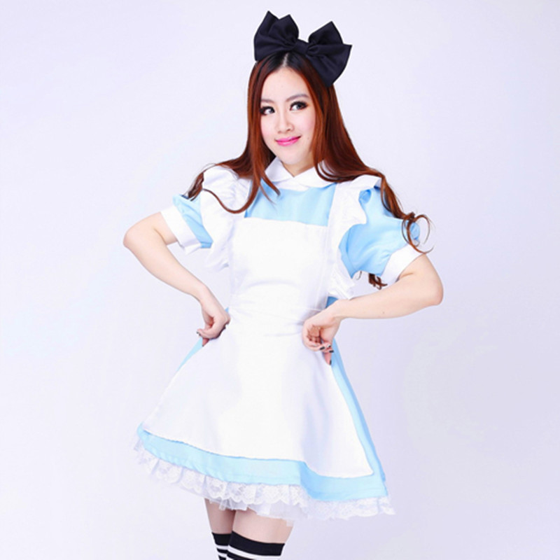 Alice Cosplay Costume Coffee Maid Dress Knee Short Skirt Specialty Restaurant Professional Apparel Send Headdress