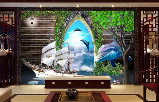 bathroom custom 3d wallpaper Non-woven papel de parede Ocean Sailing Sea 3d TV Walls wall murals 3d stereoscopic wallpaper