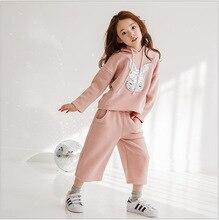 Девушки Южной кореи Новая Весна Балахон + Широкие Брюки Ноги Костюм 2 Шт. Дети Комплектов Одежды Розовый