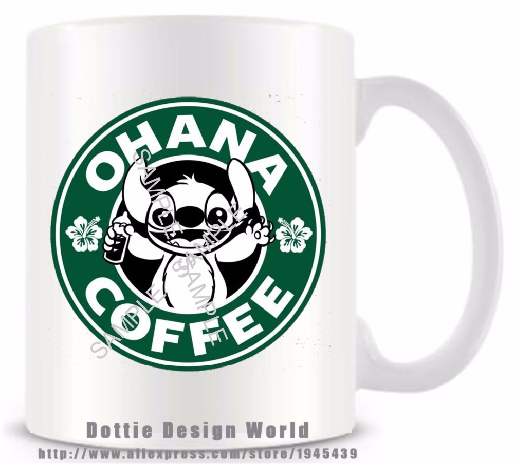 34174112791 US $12.39 38% OFF|2017 New Lilo & Stitch OHANA funny novelty travel mug  Ceramic white coffee tea milk cup Personalized Birthday Easter gifts-in  Mugs ...