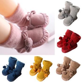 Newborn Baby Socks Baby Girls Boys Cotton High Quality Anti-Slip Socks Toddler Kids Winter Slipper Shoes Boots for 0-24 Months