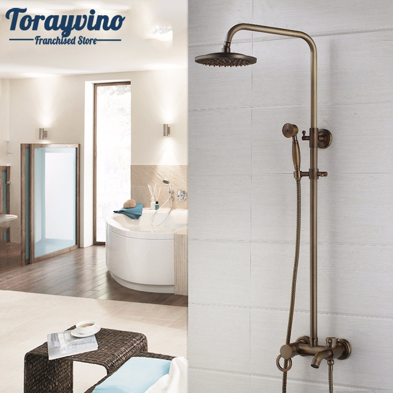 New Arrival Antique Brass Shower Faucet Set 8 Inch Shower Head Hand Shower Sprayer Wall Mounted Mixer Tap