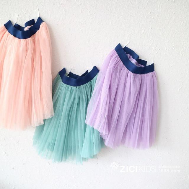 Ropa para niños 2017 muchachas del resorte de la falda de lana plisada del color del caramelo niños de lucha cintura sweet falda color sólido jrr081