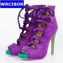 2017 Summer Hollow Out Women sandals peep toe high heels fashion women gladiator pumps platform shoes Suede Women's shoes