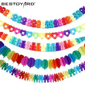 BESTOYARD Colorful Love Heart Banner Paper Party Garland Valentine'S Day Wedding Birthday Party Hanging Decoration Supplies(China)