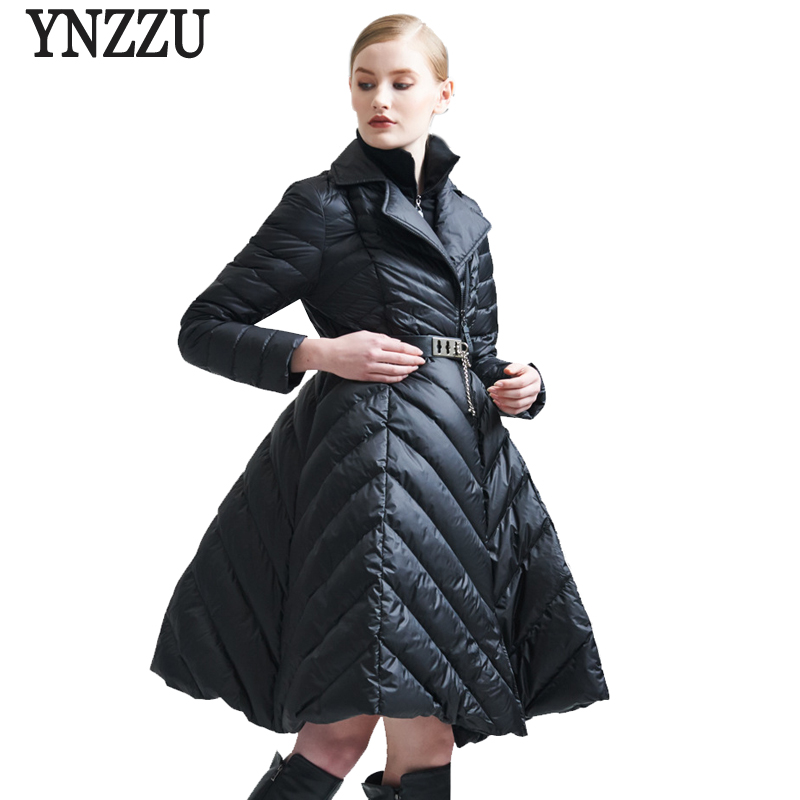 YNZZU 2017 New Winter Jacket Women Elegant Skirt Duck   Down     Coat   Patchwork With Sashes Slim Medium-Long luxury   Down   Jacket O327