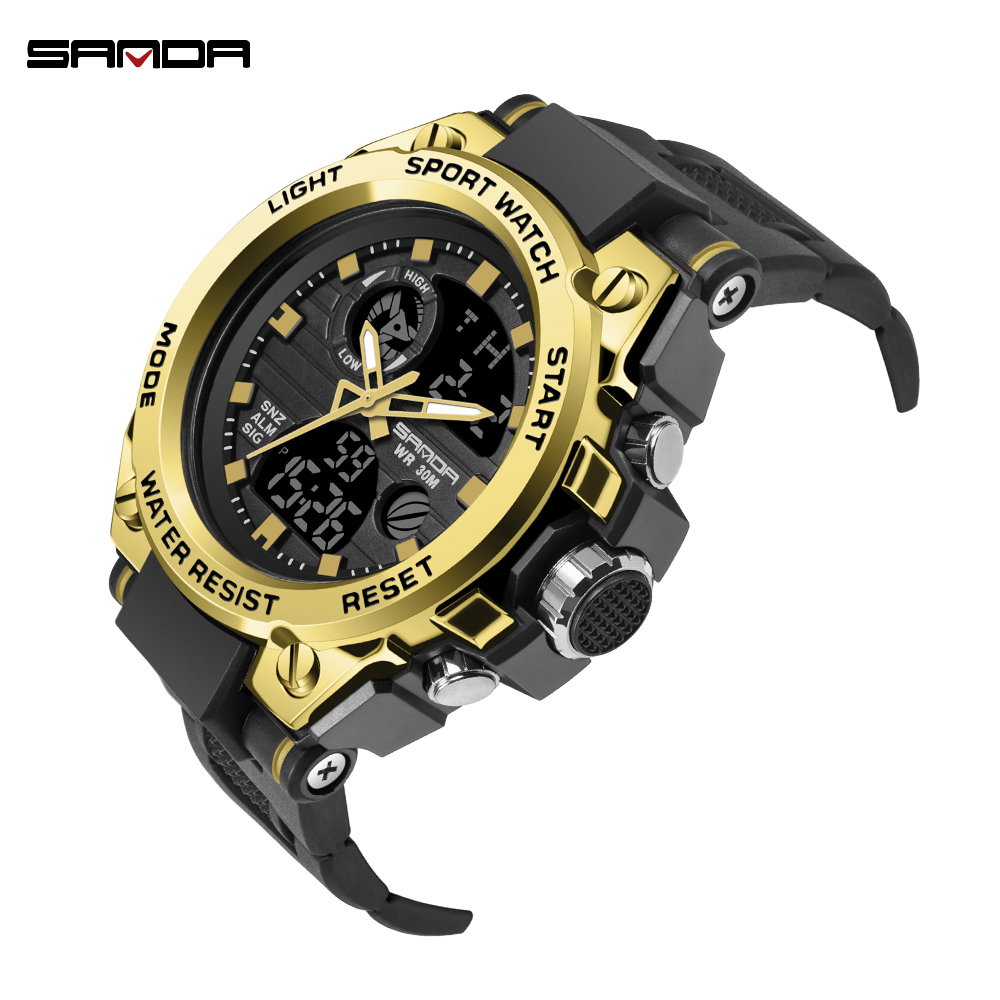 SANDA Fashion Men Sports Watches Professional Military Mens Digital LED Army Dive Watch Casual Electronics Wristwatches Relojes in Digital Watches from Watches