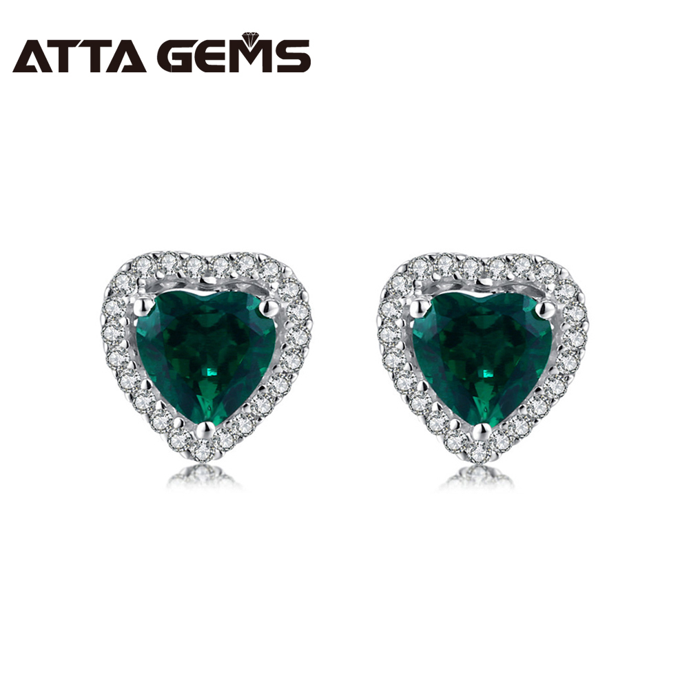 Hotsale! Green Emerald 925 Silver Stud Earring Hearts Shape 6mm*6mm Lovely And Vivid Top Quality For Wholesale And Retail Hotsale! Green Emerald 925 Silver Stud Earring Hearts Shape 6mm*6mm Lovely And Vivid Top Quality For Wholesale And Retail