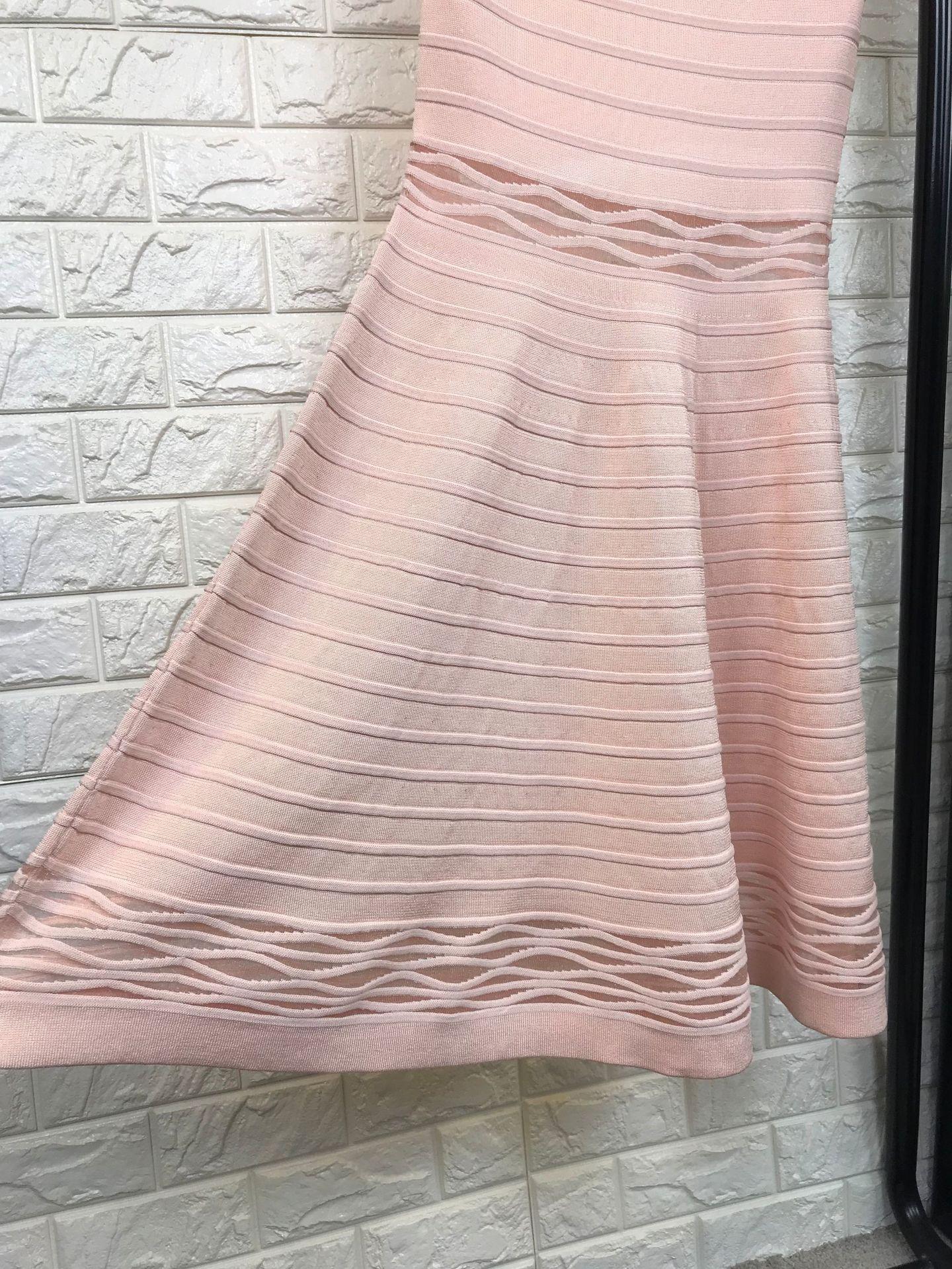 Noir Noir rose Manches Habille Nouvelle Évider Rose Chandail Femmes Fit Flare Mignon Robe Mode Tricoté Automne 2018 La Sans Et FPAngwBqx