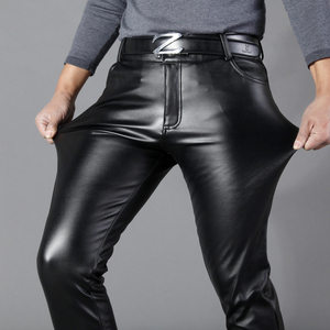 Image 4 - Thoshine מותג גברים עור מכנסיים Slim Fit אלסטי סגנון אביב קיץ אופנה עור מפוצל מכנסיים אופנוע מכנסיים Streetwear