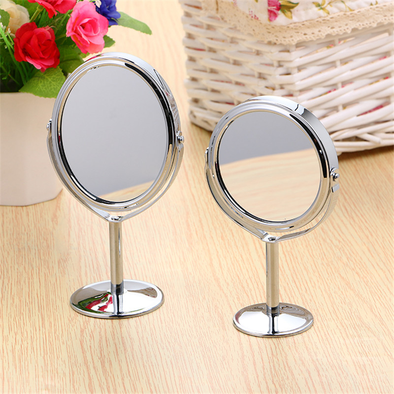 1 PCS Bathroom Mirror 180 Rotatable Double Sided Round Oval Shape Stand Circular Magnifying Makeup Mirror Silver Desktop Mirror