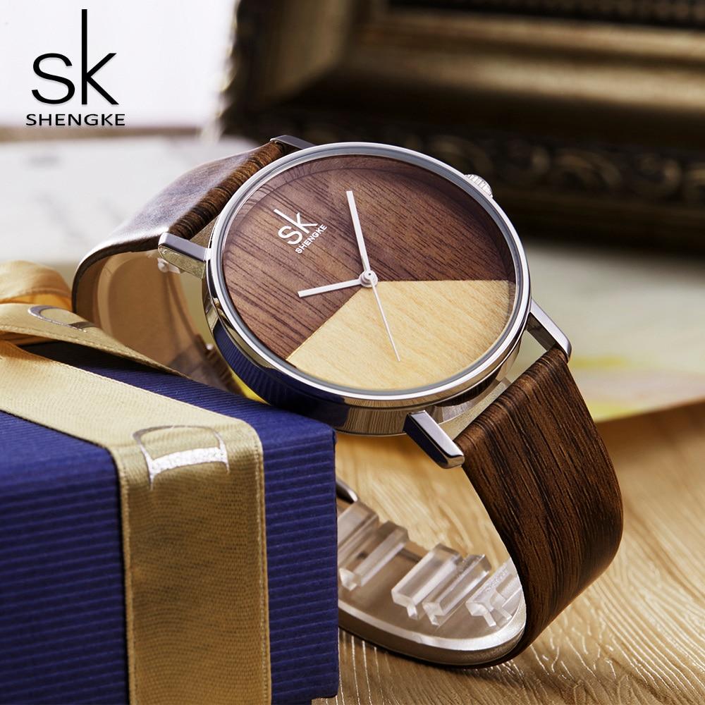 Shengke High Quality Women Watches Wood Leather Wat