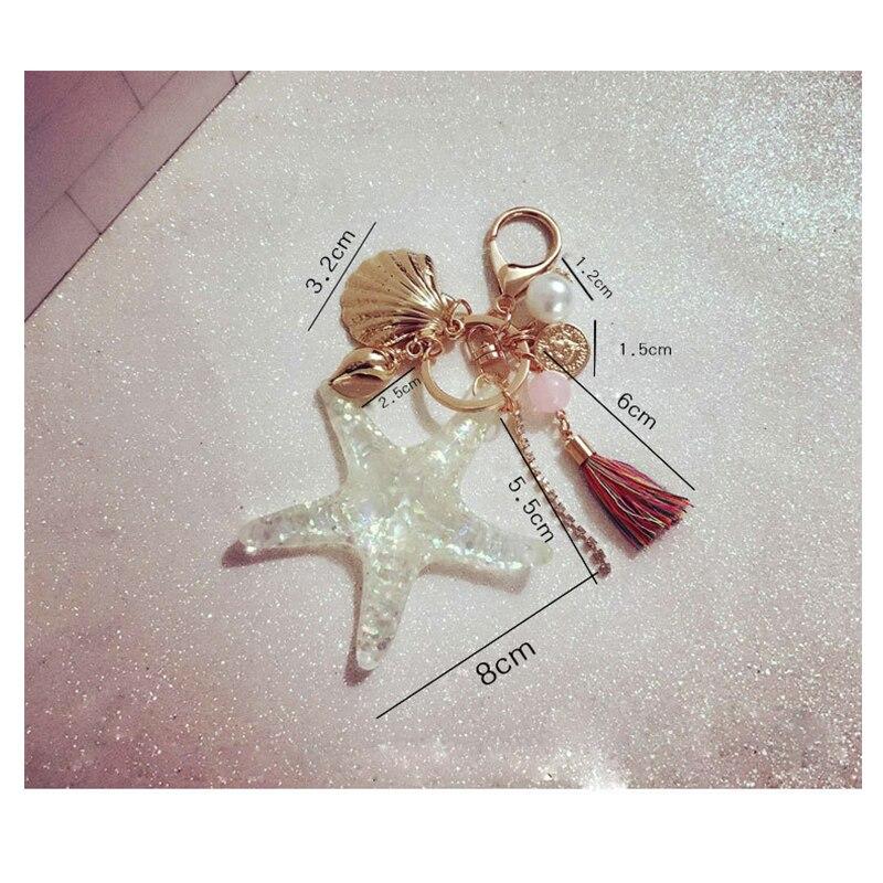 Fashion Bag Charm Pendant Starfish Shellfish Tassel Keychain Alloy  Rhinestone Car Couple Keyring Merci Maitresse Porte Clef Gift-in Key Chains  from Jewelry ... cd03300c8055