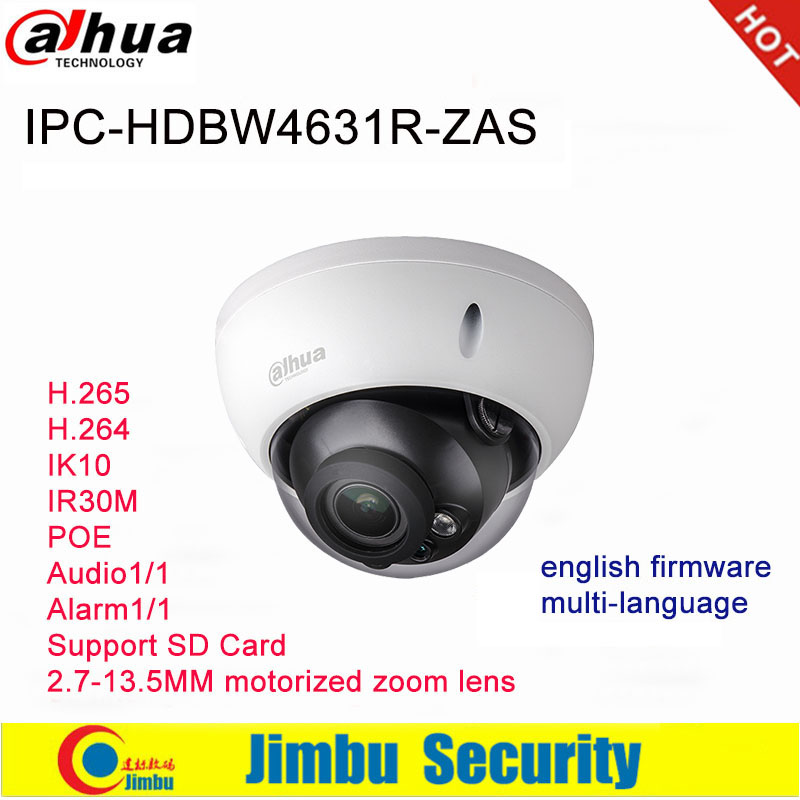Dahua Ip Camera 6MP POE IPC-HDBW4631R-ZAS 2.7~13.5mm varifocal motorized lens IR30M IP67 built-in SD card slot audio interface dahua ip camera 6mp poe ipc hdbw4631r s support sd slot ir30m ik10 ip67 cctv camera english firmware