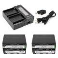 2 unid 7200 mah np-f960 np-f970 np f970 f960 baterías recargables y cargador rápido lcd dual para sony hvr-hd1000 hvr-hd1000e hvr-v1j