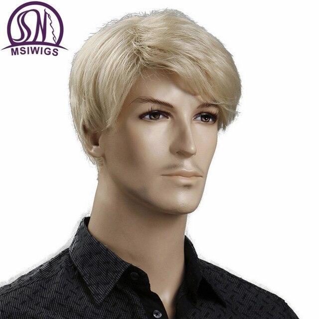 MSIWIGS Court Blonde Mâle Synthétique Perruques Américain Européenne 6 Pouce Droite Hommes Perruque avec Livraison Chapeau de Cheveux Résistant À La Chaleur 1