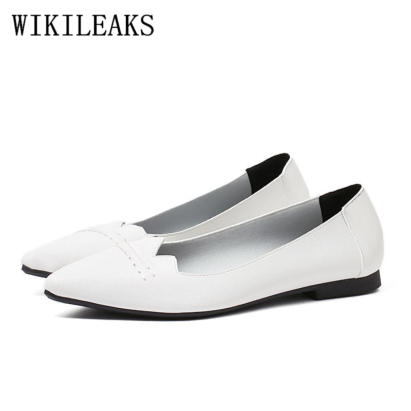 new fashion Korean boat shoes pointed toe flats autumn women shoes 2018 leather shoes woman zapatillas mujer casual slip on red cresfimix women cute spring summer slip on flat shoes with pearl female casual street flats lady fashion pointed toe shoes