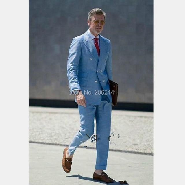 Fashion Denim Blue British Style Men's Suits Right Double Pockets ...