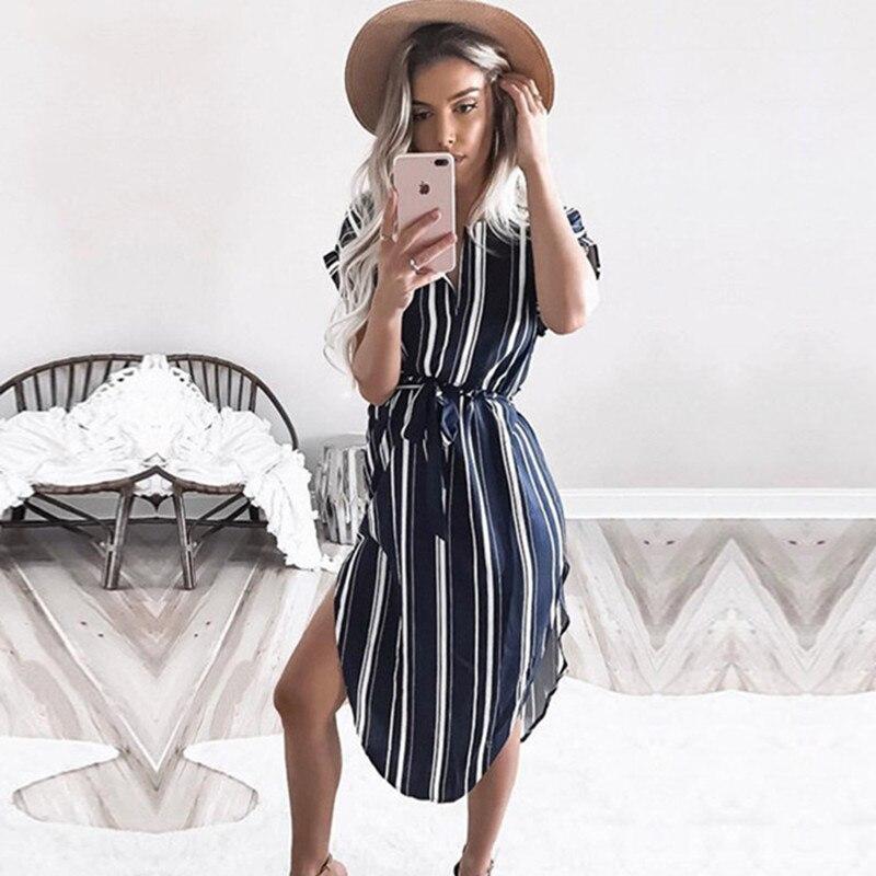 Summer Dress 2019 Women Boho Style Geometric Print Beach Dress Elegant Party Dresses with Belt Vestidos