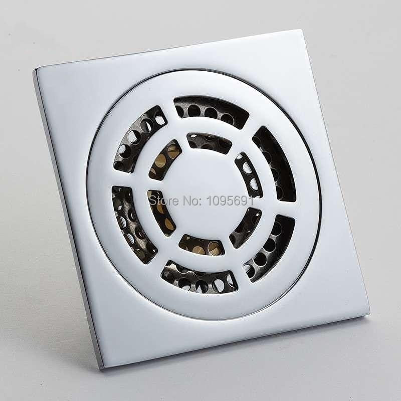 ФОТО European standard Chrome Plated Bathroom brass floor drain 100*100mm bathroom accessory free shipping
