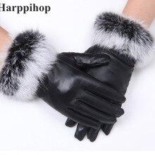 Высокое качество для женщин леди черный овчины кожаные перчатки осень зима теплый мех кролика варежки Горячие бархатные ветрозащитные