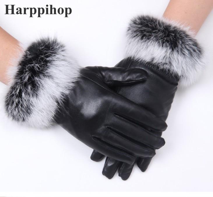 Guantes de piel de Oveja Negra de alta calidad para mujer, guantes de piel de conejo cálidos para Otoño Invierno, mitones de terciopelo a prueba de agua