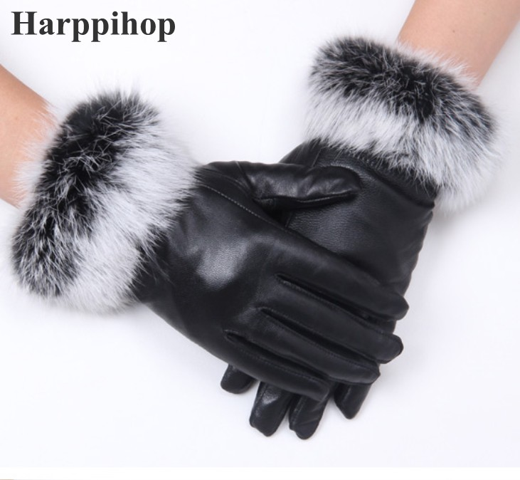 High Quality Women Lady Black Sheepskin Leather Gloves Autumn Winter Warm Rabbit Fur Mittens Hottest Velvet Wind Water Proof