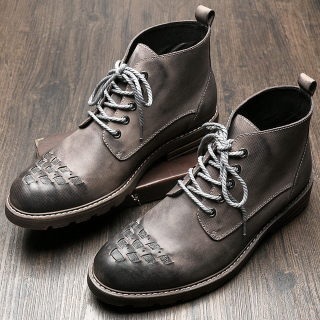 Genuine Leather Mens Lace Up Round Toe Martin Boots Retro Soliders Work Safety Ridding Ankle Boots