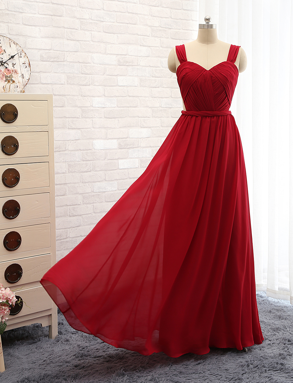 Red dress for prom A-line tank sexy chiffon long p...
