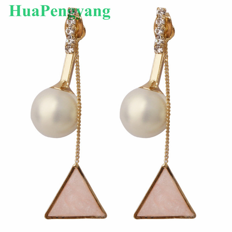 Nowadays the latest Korean ladies pearl triangle tassel exquisite long earrings girls th ...