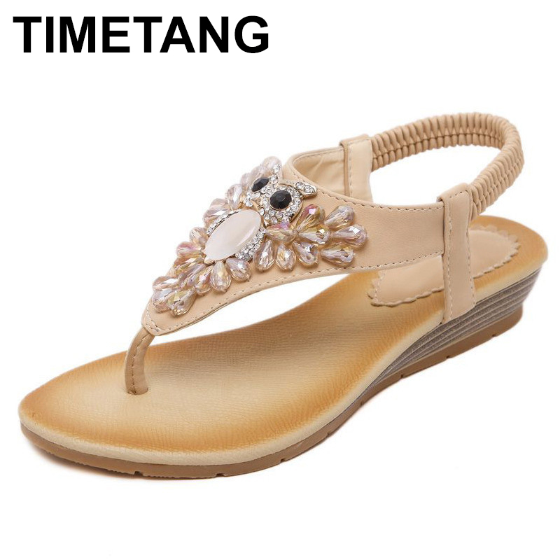 TIMETANG summer new woman fashion sandals slope casual comfortable diamond beads women sandals large size banquet sandals  C055