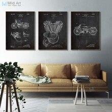 Черный и белый винтажный запатентованный эскиз плакаты принты мотоцикл двигатель мальчик подарки А4 настенные художественные картины Домашний декор холст живопись