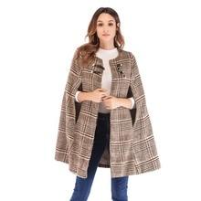 Новые модные женские туфли пончо, плащ с капюшоном, шинель осень-зима из твида в клетку плащ Batwing рукава пальто Повседневное Свободная верхняя одежда из шерсти