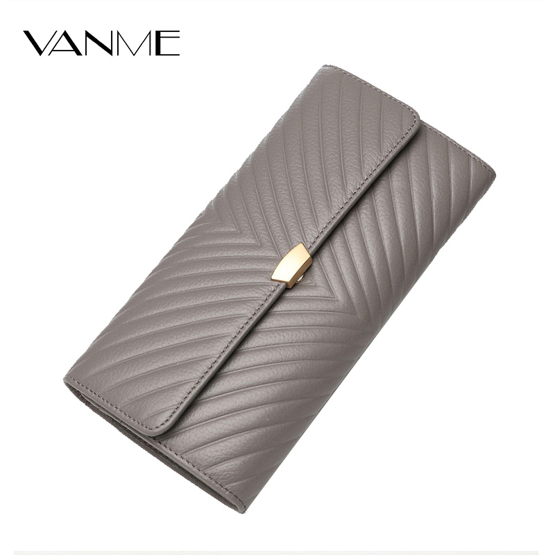 Elegant Women Long Wallets Soft Leather Hasp Money Purse Fashion Style Card Holder Genuine Leather Clutch Bag Female Purse