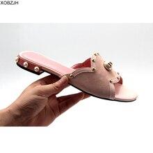 Mùa Hè Đế Bằng Nữ Giày Nữ 2019 Cao Cấp Thương Hiệu Nhà Thiết Kế Giày Sandal Nữ Màu Hồng Da Giày Giày Người Phụ Nữ Dép Plus Size 11