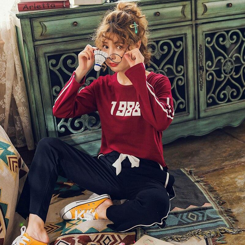 Brand New Autumn 100% Cotton Long Sleeved Print Women's   Pajamas     Sets   Loose Pants Sleepwear Nightgowns Lounge Plus 3XL Homewear