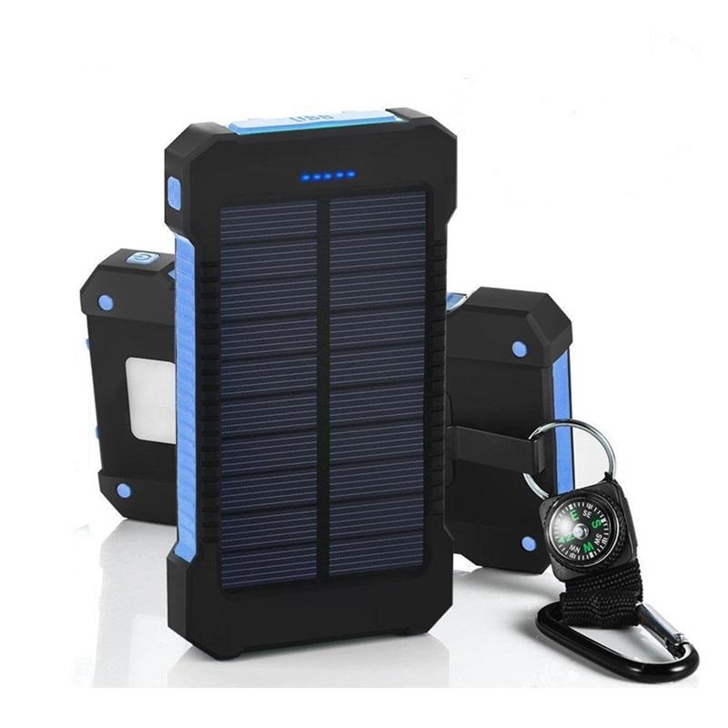 Dual USB 8000mAh Solar Power Bank Solar Panel Portable Charger Led Mobile Cargador For iPhone Xiaomi Samsung Mi Phone