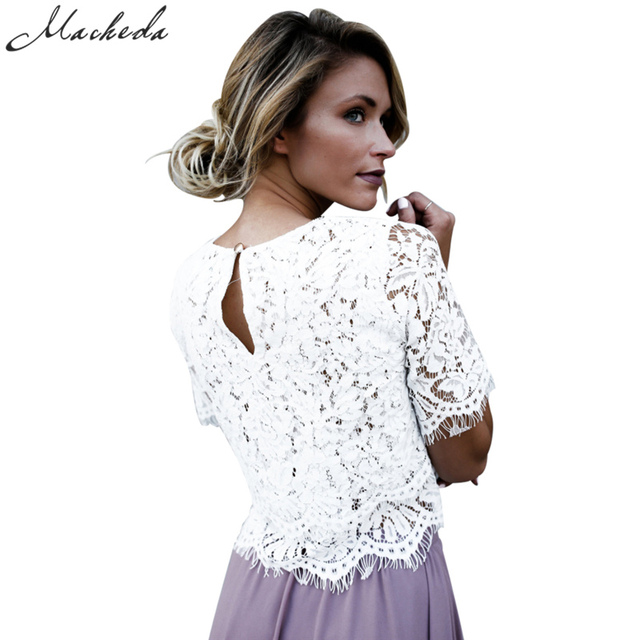 Macheda 2017 New Fashion White Floral Lace Hollow Out Crochet Top Vintage Women O-Neck  Shirt Short Sleeve Casual Elegant