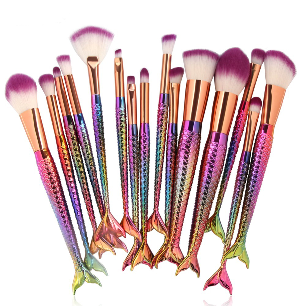 15pcs Mermaid Cosmetic Beauty Make Up Brush Tool Kits Powder Foundation Blush Eyeshadow Face Eyes Blending Makeup Brushes Set pro 15pcs tz makeup brushes set powder foundation blush eyeshadow eyebrow face brush pincel maquiagem cosmetics kits with bag