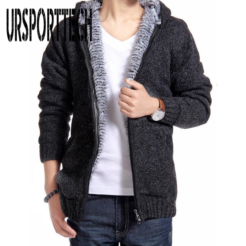 New Brand Cardigan Men Sweater Fashion Solid Thick Warm Sweaters Male Casual Hooded Winter Wear Fur Lining Christmas Sweater