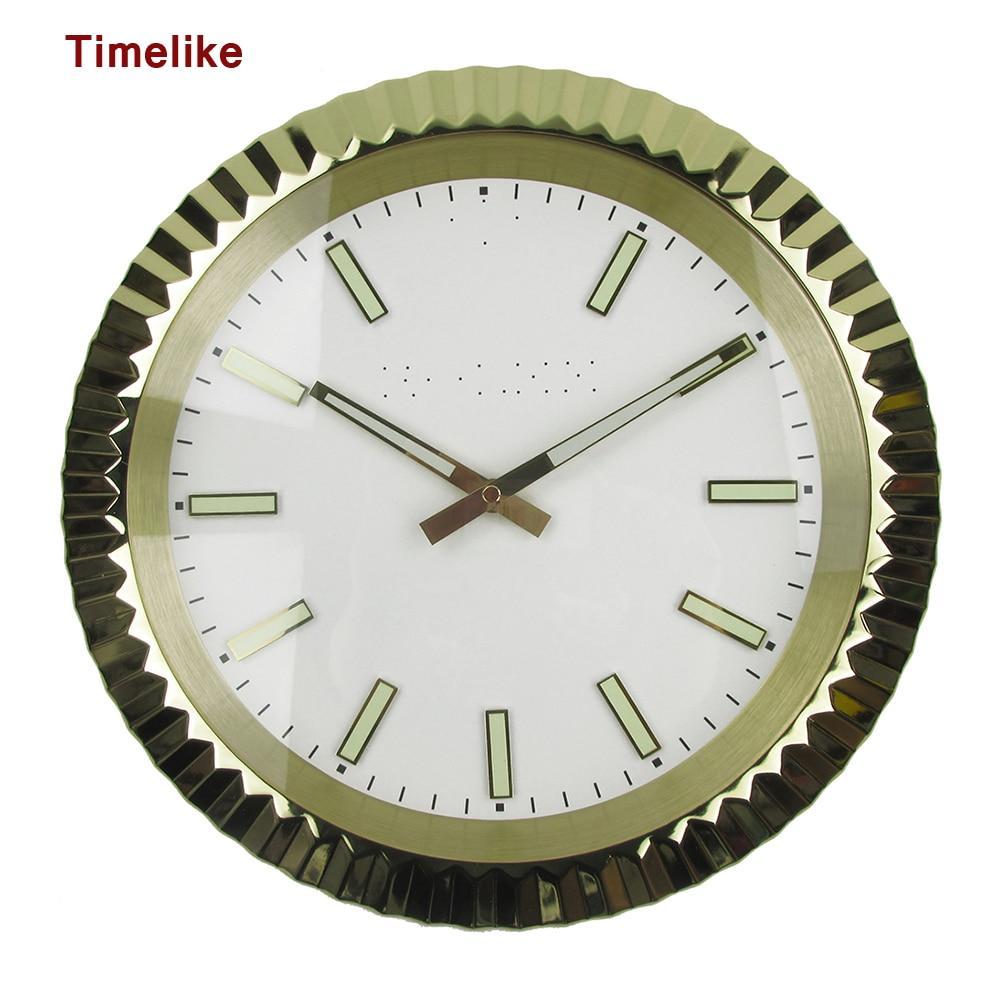 뜨거운 판매 금속 벽시계 럭셔리 디자인 시계 모양 스테인레스 스틸 시계 duvar saati reloj 드 pared horloge murale wandklok-에서벽결이 시계부터 홈 & 가든 의  그룹 1