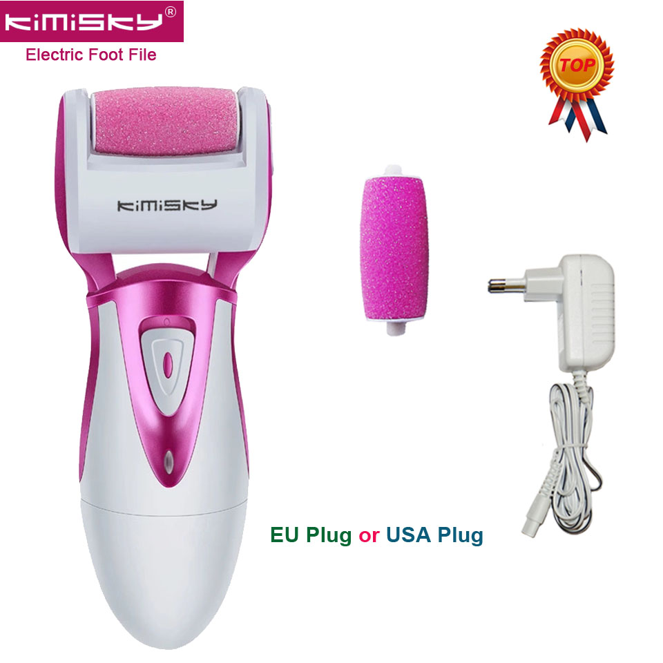цена на KIMISKY Red Smooth Strong Electric Pedicure tool Foot File Rechargeable Foot Care Tools +2ps For scholls roller heads