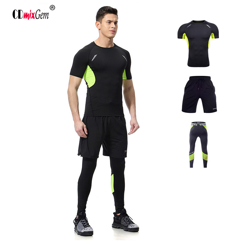 3 Pieces Men's Running Clothes Short Compression Tights Gym Fitness T Shirt Cropped Pants Quick Dry Sets Sports Suits 2016 boys running pants soccer trainning basketball sports fitness kids thermal bodybuilding gym compression tights shirt suits page 5