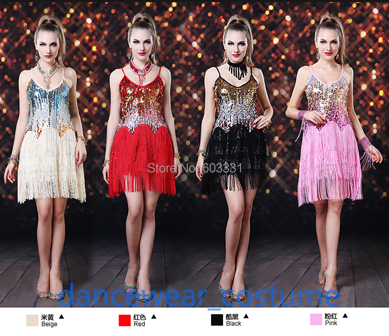 Ladies Ballroom Latin Salsa Dance Dress Women's Tassels Skirt Fringe Competition Practice Dresses 8Colors 1SZ - dance dress store