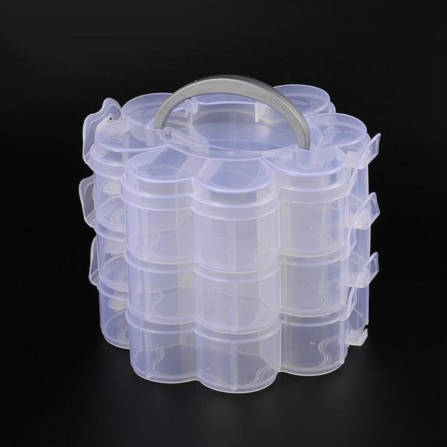 3 Layers Clear Plastic Bead Storage Containers Total of 14