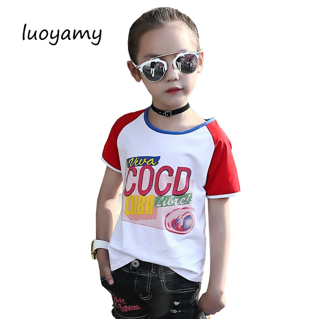 luoyamy Kids Female Cotton Sport T-shirt Girls Summer Patchwork Letter  Printed Clothes Children Casual e73503fe3355